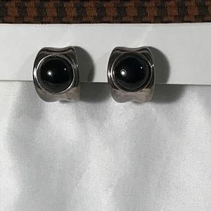 STERLING SILVER WITH BLACK STONE EARRINGS